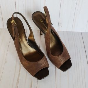 Ann Klein Open-Toe Sling Back Shoes Brown 7.5